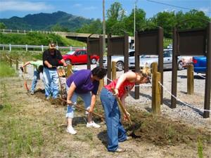 PCSTA members building a roadside kiosk